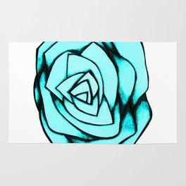 Turquoise Rose Rug