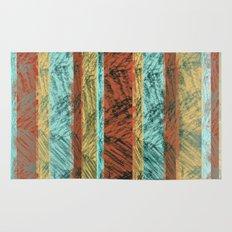 Tribal Scratch Stripes Orange Turquoise Straw Yellow Rug