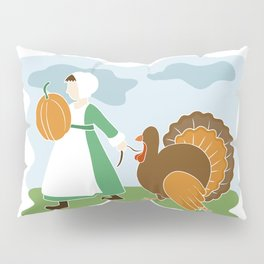 Thanksgiving Pilgrim and Turkey Pillow Sham