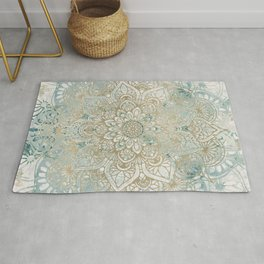 Mandala Flower, Teal and Gold, Floral Prints Rug