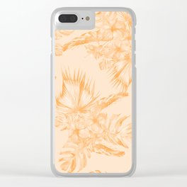Island Vacation Hibiscus Coral Mango Orange Clear iPhone Case