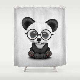 Cute Panda Bear Cub with Eye Glasses Shower Curtain