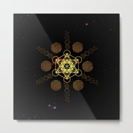 Metatron's Cube Platonic Solids Metal Print