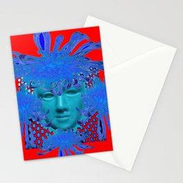 BOHEMIAN RED BLUE DECORATIVE ABSTRACT FACE ART Stationery Cards