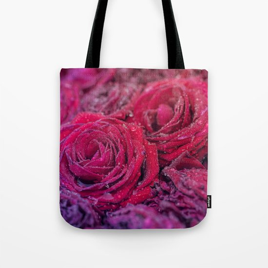 Bed of darkred roses - Red rose bunch Tote Bag