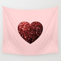 sparkles Wall Tapestries featuring Red Glitter sparkles Heart  by PLdesign