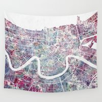 new orleans Wall Tapestries featuring New Orleans  by MapMapMaps.Watercolors