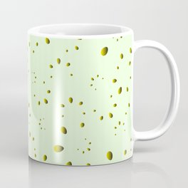 A lot of yellow drops and petals on a green background in nacre. Coffee Mug