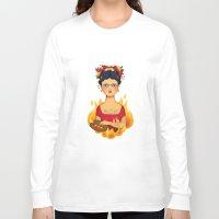 frida Long Sleeve T-shirts featuring Frida by La Perera