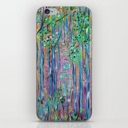 Teal Blue Abstract Forest Landscape, Forest Secrets, Fantasy Fairy Art iPhone Skin
