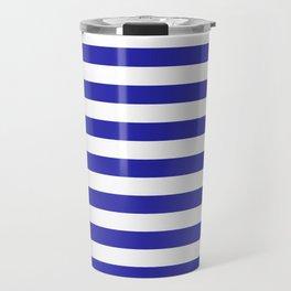 Stripes (Navy & White Pattern) Travel Mug