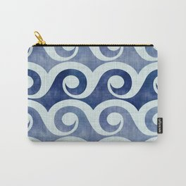 Retro Tropical Beach Waves - Indigo Blue Woodblock Carry-All Pouch