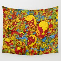 mucha Wall Tapestries featuring Mucha Lucha by Guilherme Marconi