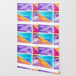 180811 Watercolor Block Swatches 2| Colorful Abstract |Geometrical Art Wallpaper
