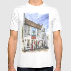 The Bull Pub Theydon Bois Watercolour White Mens Fitted Tee MEDIUM