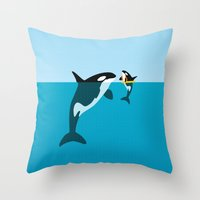 orca Throw Pillows featuring Orca by WyattDesign