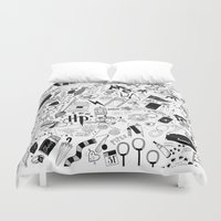 quidditch Duvet Covers featuring Hogwarts, Hogwarts, Hoggy Warty Hogwarts by girlinplaits