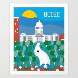 Boise, Idaho - Skyline Illustration by Loose Petals Art Print
