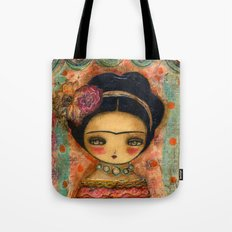 Frida In A Red And Teal Dress Tote Bag