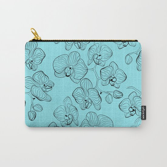 Retro . Orchid flowers on a heavenly blue background . Carry-All Pouch