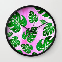 tropical plants on pink Wall Clock
