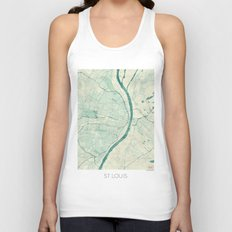 St. Louis Map Blue Vintage Unisex Tank Top