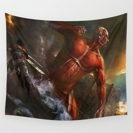 colossal titan appears Wall Tapestry