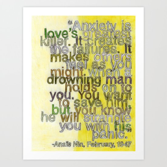 Anaïs Nin on Love, I Art Print