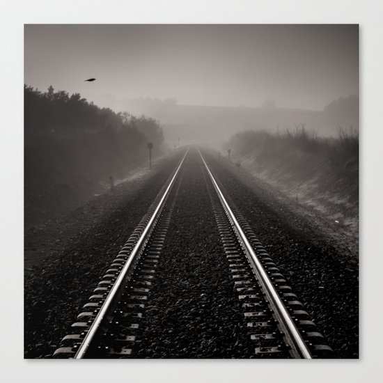 """""""Bird through the foggy railway"""" Canvas Print"""