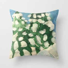 Midday Snowy Pines Throw Pillow