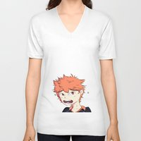 haikyuu V-neck T-shirts featuring Birb Son by The London Fairy