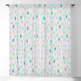 Pastel Cactus Pattern Blackout Curtain