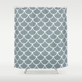 Neutral Blue Fish Scales Pattern Shower Curtain