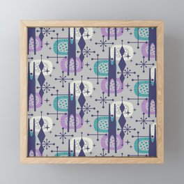 Retro Atomic Mid Century Pattern Grey Teal Blue and Lavender Framed Mini Art Print