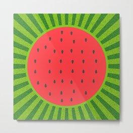 Sweet Summer Watermelon Red & Green Metal Print