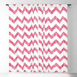 Chevron Red And White Blackout Curtain