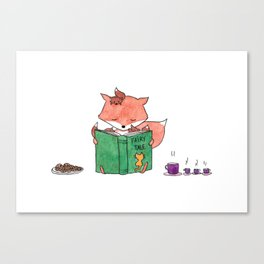 Little foxes - Reading together Canvas Print