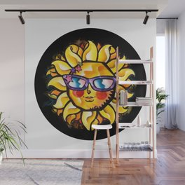 Colorful Tropical Sun with Sunglasses in Black Circle Wall Mural