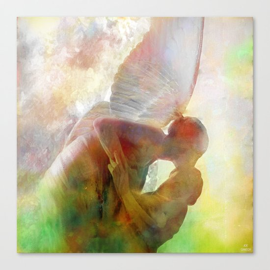 The kiss of the angel Canvas Print