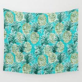 AQUA PINEAPPLE O'CLOCK Tropical Hawaiian Watercolor Wall Tapestry