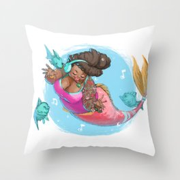 Singing Under the Sea Throw Pillow