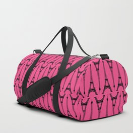 Black Eiffel Towers on French Rose Duffle Bag