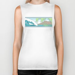 Ala Moana Diamond Head Hawaiian Surf Sign Biker Tank