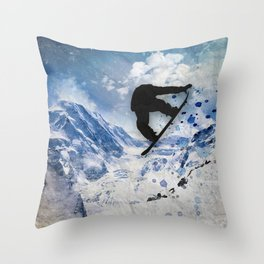 Snowboarder In Flight Throw Pillow