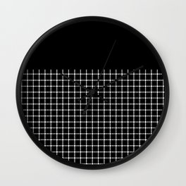 Dotted Grid Boarder Black Wall Clock