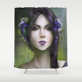 Viola - Girl with purple flowers in her hair Shower Curtain