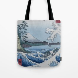 Sea Off Satta - Japanese Woodblock Print by Hiroshige Tote Bag