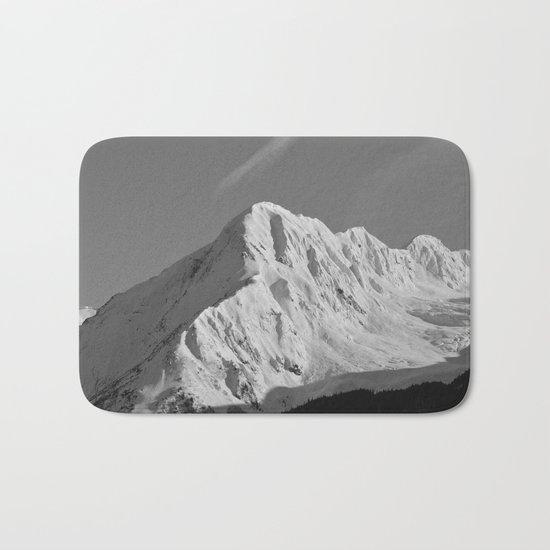 Portage Valley Mountain Glacier - B & W Bath Mat