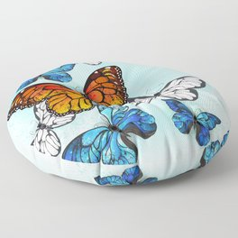 Background with Monarchs and Morpho Floor Pillow