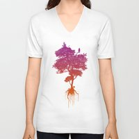 splatter V-neck T-shirts featuring Splatter Tree by CoryFreemanDesign